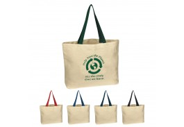 Natural Cotton Canvas Pocket Shopper Tote Bag