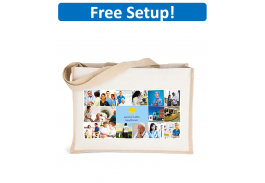 Josephine Cotton Jute Tote Bag with Full Color Imprint